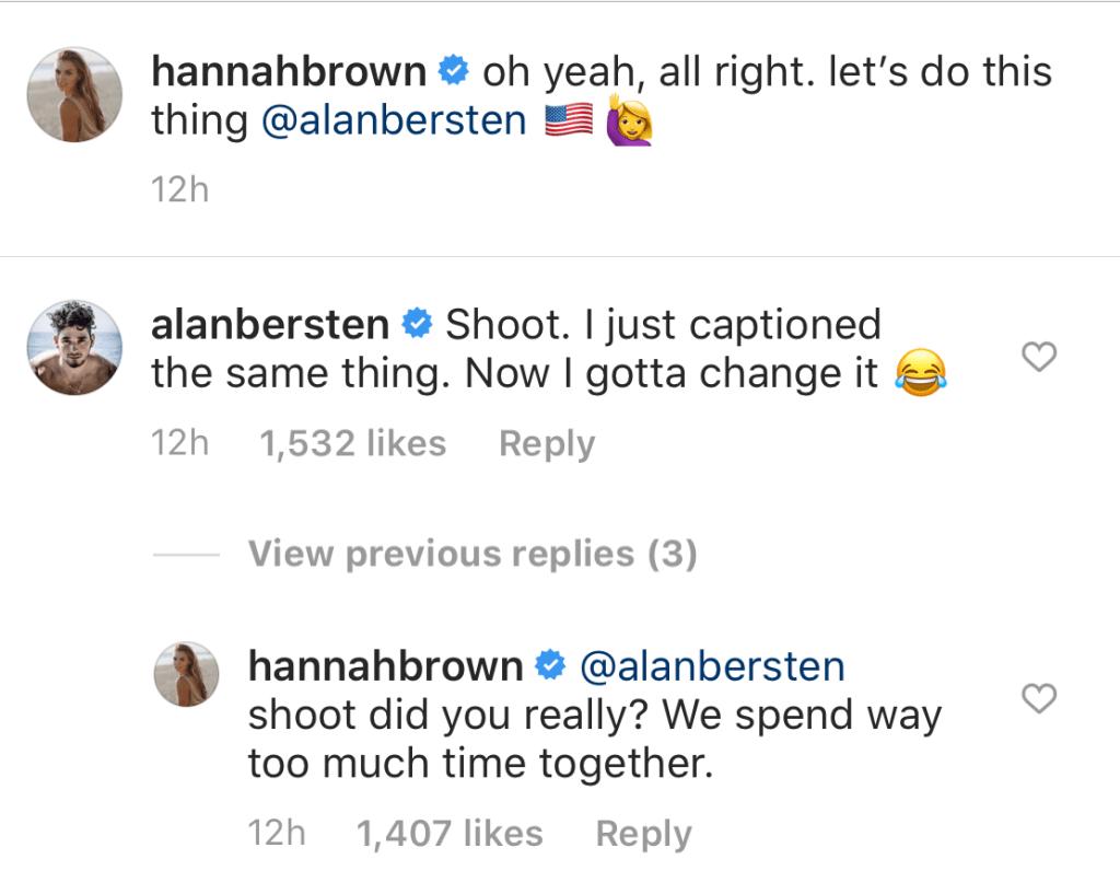 Hannah Brown and Alan Bersten Get Flirty on IG