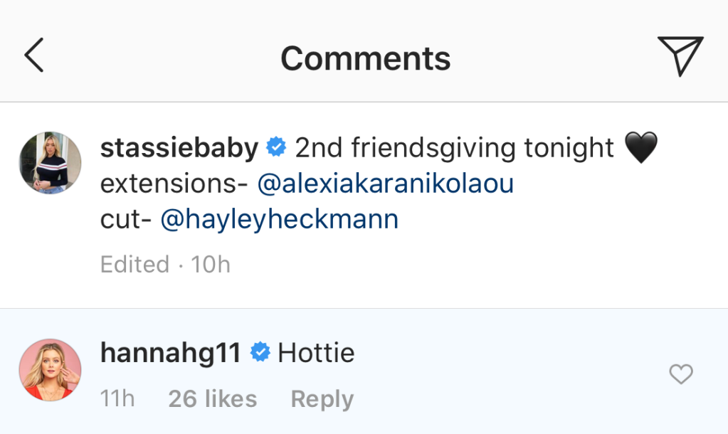 Hannah Godwin Comments on Stassie's Instagram Page Amid rumors She's Dating Tyler Cameron