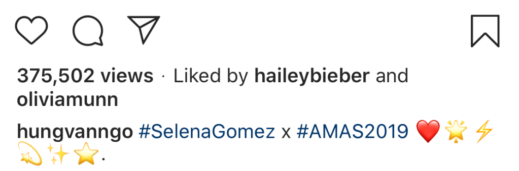 Hailey Bieber Like a Photo of Selena Gomez's AMAs Glam