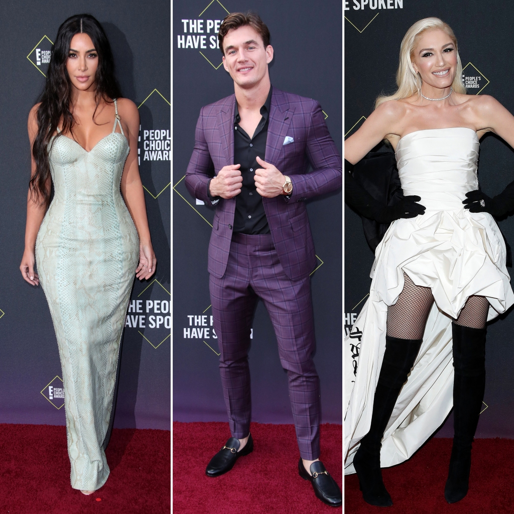 Kim Kardashian Wearing Versace, Tyler Cameron Purple Suit Black Shirt and Gwen Stefani 2019 Peoples Choice Awards