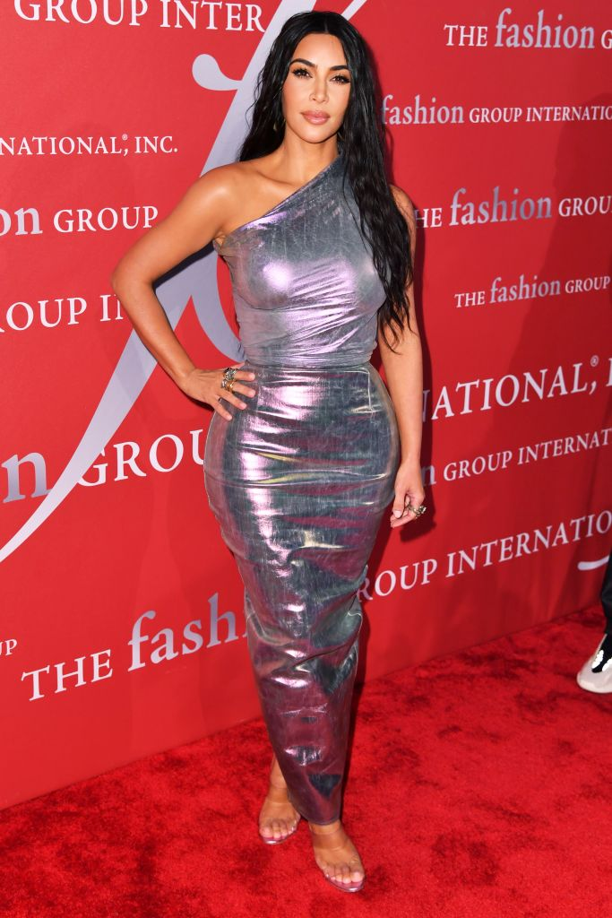 Kim Kardashian Posing in a Silver Gown in 2019, Reality Star Admits She's Gained 18 Pounds