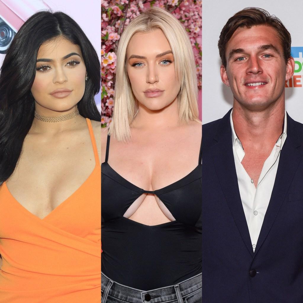 Kylie-Jenner, Anastasia Karanikolaou, Tyler Cameron Split Image