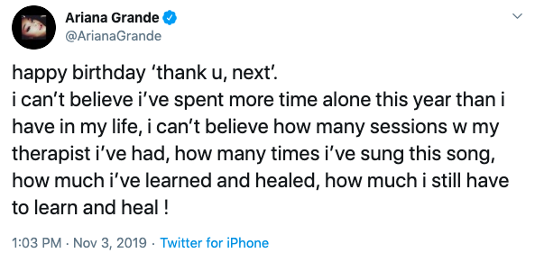 ariana grande tweets about thank u next anniversary