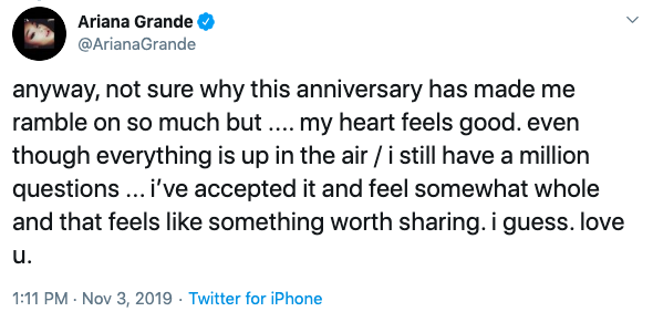ariana grande tweets about thank u next anniversary 3