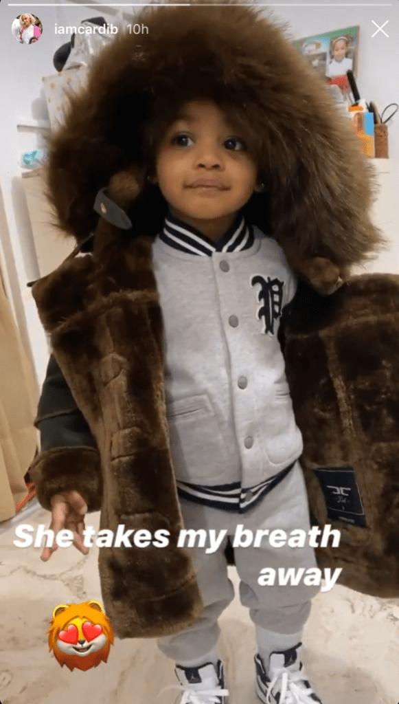 Kulture Kiari Cardi B's Daughter in a Furry Coat
