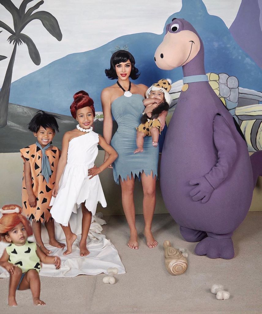 Kim Kardashian the Flinstones Family Costume Chicago West Photoshopped in Family Picture