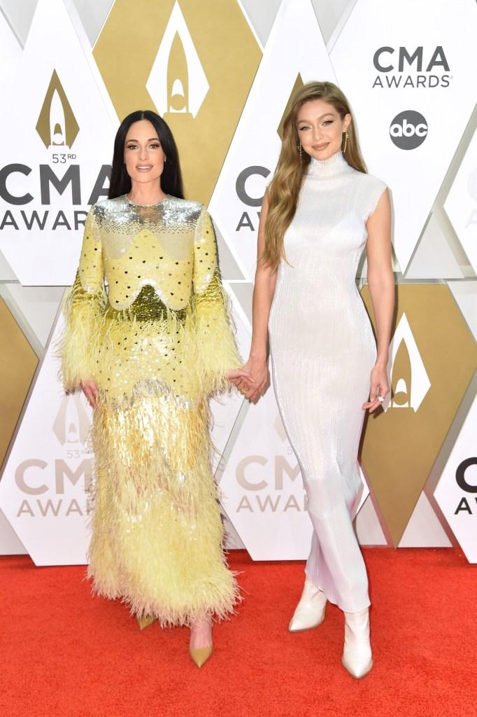 Kacey Musgraves and Gigi Hadid 53rd Annual CMA Awards, Arrivals, Bridgestone Arena, Nashville, USA - 13 Nov 2019