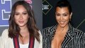 A split image of Adrienne Bailon and Kourtney Kardashian