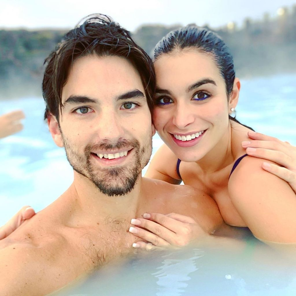 Ashley Iaconetti and Jared Haibon in Iceland in a Hot Tub