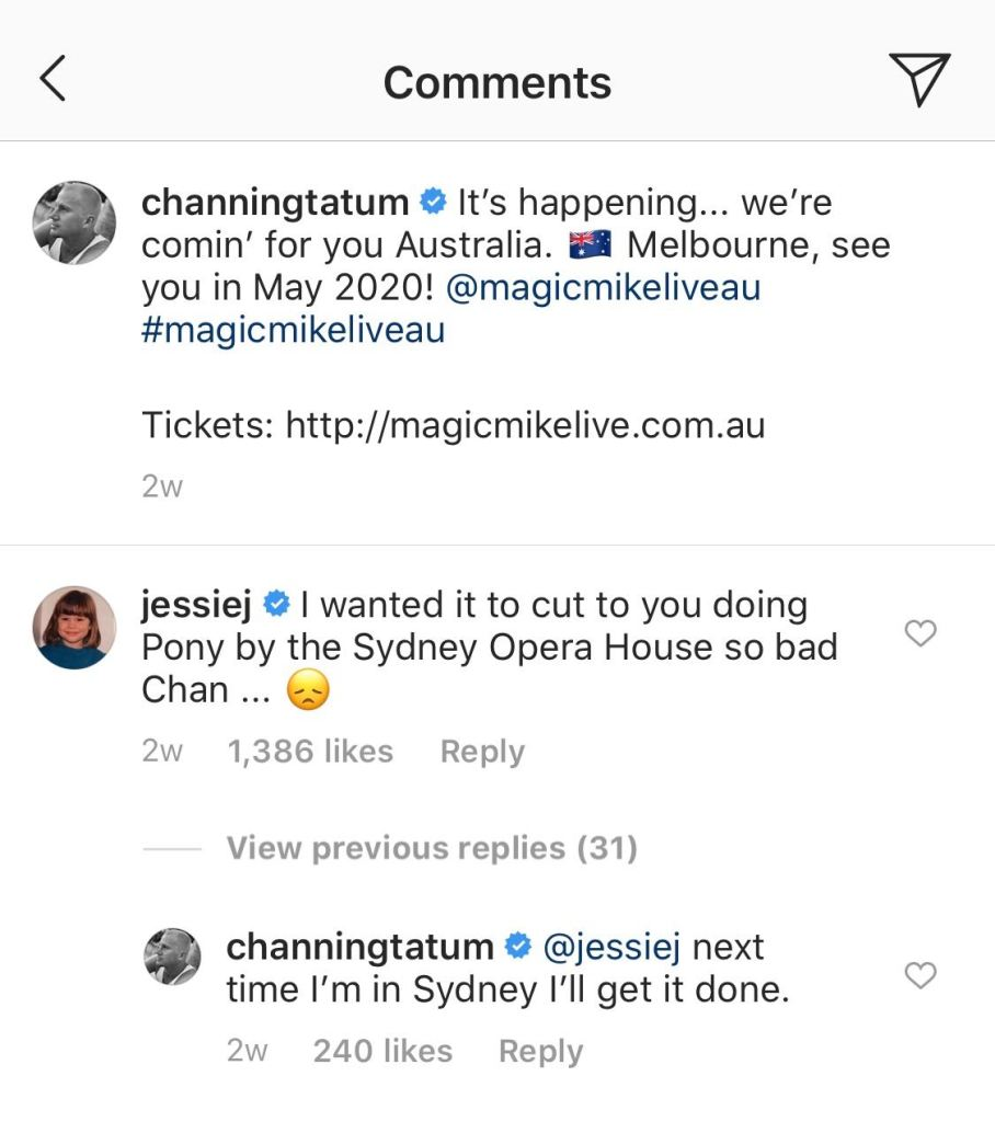 Channing Tatum and Jessie J's Instagram Exchange