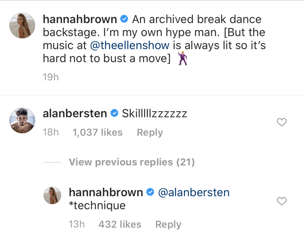 Alan Bersten Compliments Hannah Brown's Dance Moves on Ellen