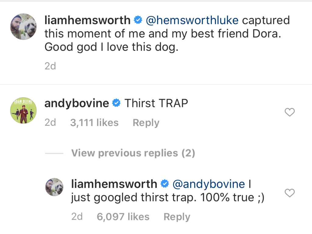 Liam Hemsworth admits to Being a Thirst Trap