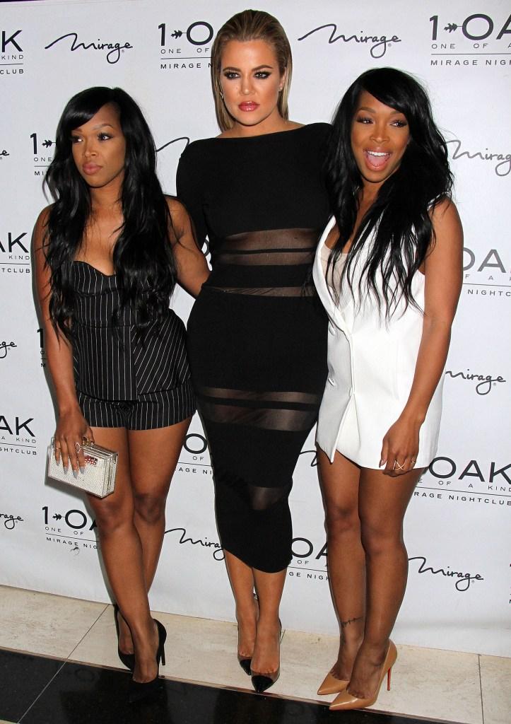 Khloe Kardashian in a Black Dress With Malika Haqq and Khadija Haqq