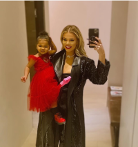 Khloe Kardashian and True Thompson in Holiday-Inspired Outfits