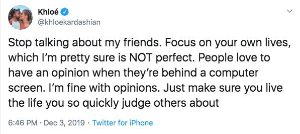 Khloe Kardashian Defends Her Best Friends on Twitter