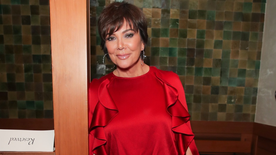 Kris Jenner Wearing a Red Dress and Posing