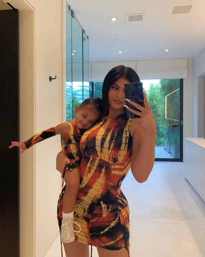 Kylie Jenner Taking a Mirror Picture With Stormi