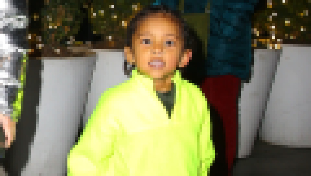 Saint West in NYC Wearing Lime Green Sweatsuit