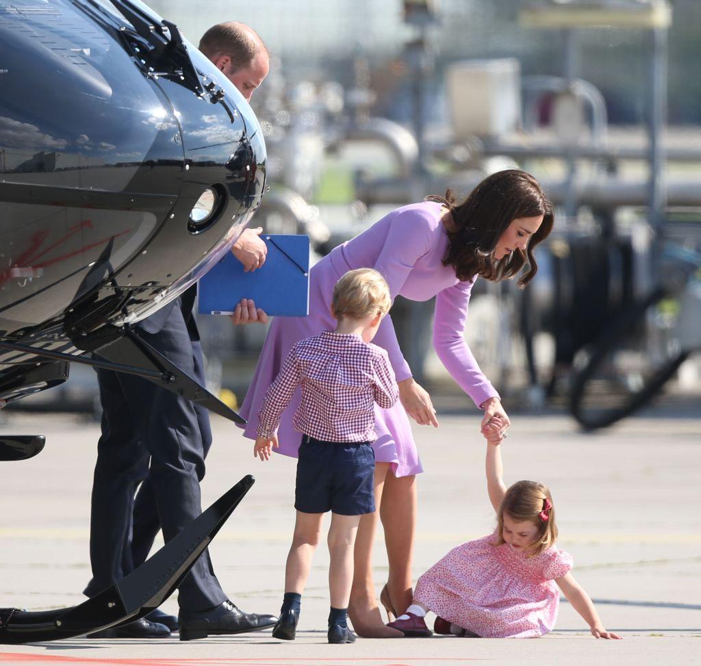 Princess Charlotte Falls in Pink Dress at Hamburg Airport