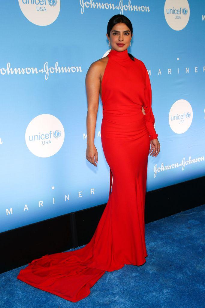 Priyanka Chopra in a Red Dress at UNICEF's Snowflake Ball in NYC