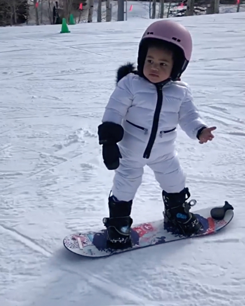 Stormi Webster Finally Shows Off Her Snowboarding Skills on the Slopes