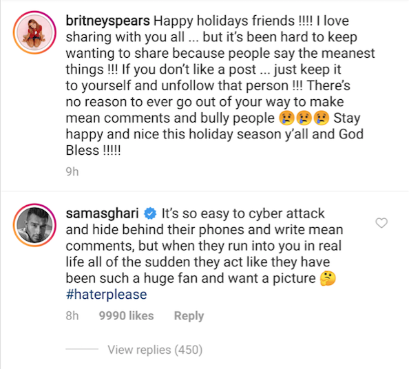 britney spears' boyfriend sam asghari defended her in a comment on instagram