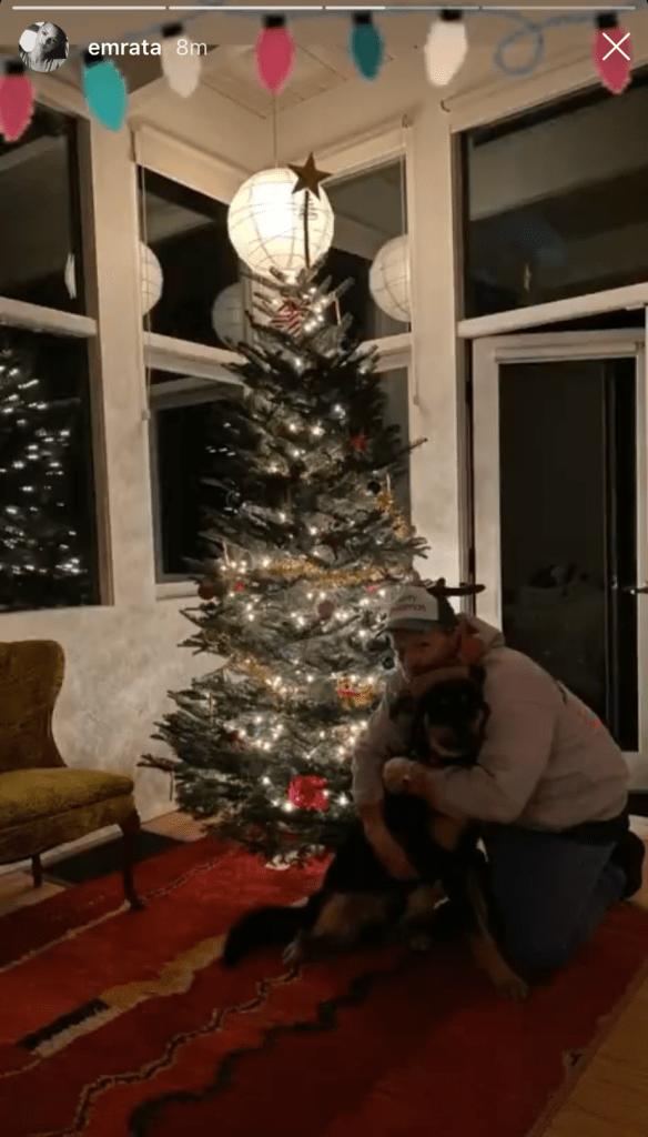 EmRata's Dog Colombo Celebrates First Christmas