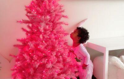 Khloe Kardashian's Daughter True Thompson Enjoys pink Christmas Tree