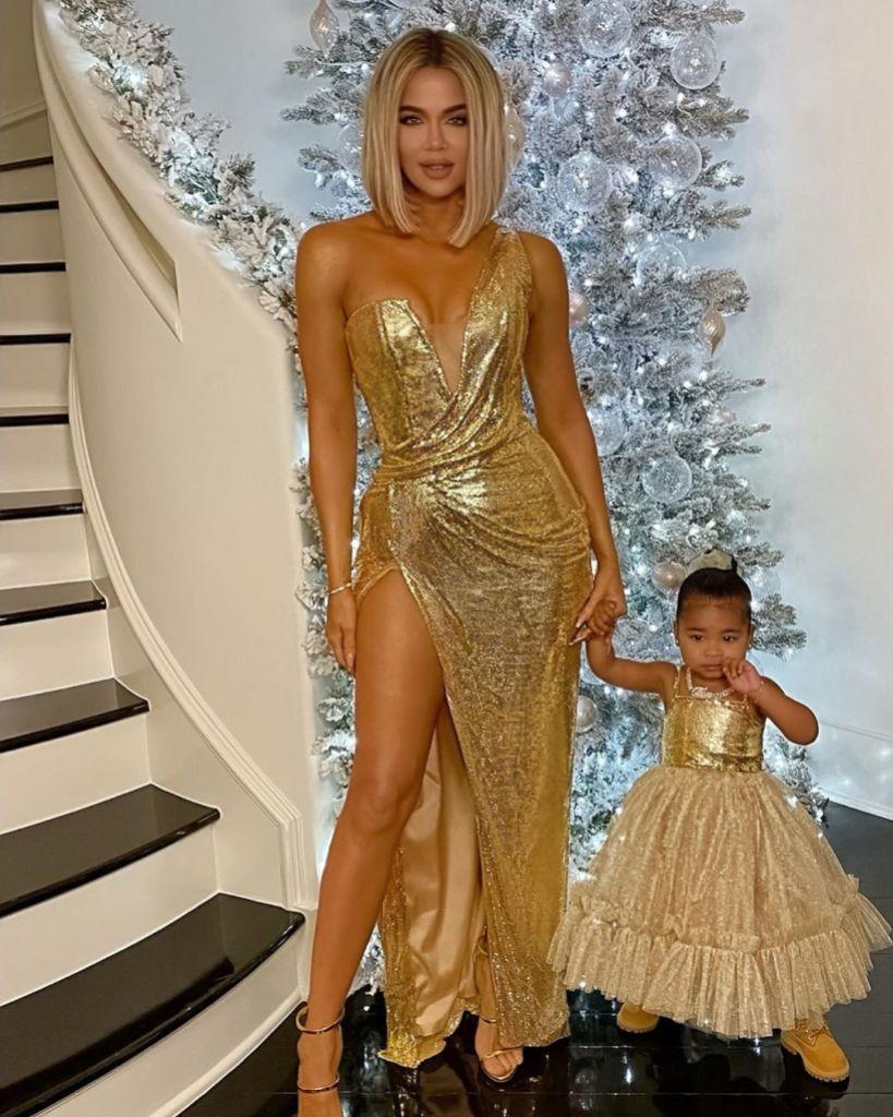 Khloe Kardashian and True Thompson Wear Matching Gold Dresses for Kardashian Christmas Party
