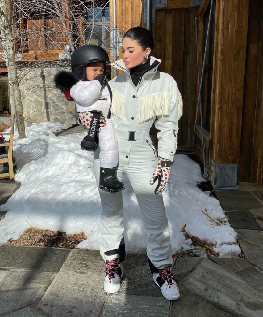 Stormi Webster Goes Snowboarding With Kylie Jenner