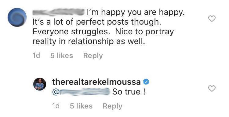 Tarek El Moussa Responds to 'Perfect Posts' Comment