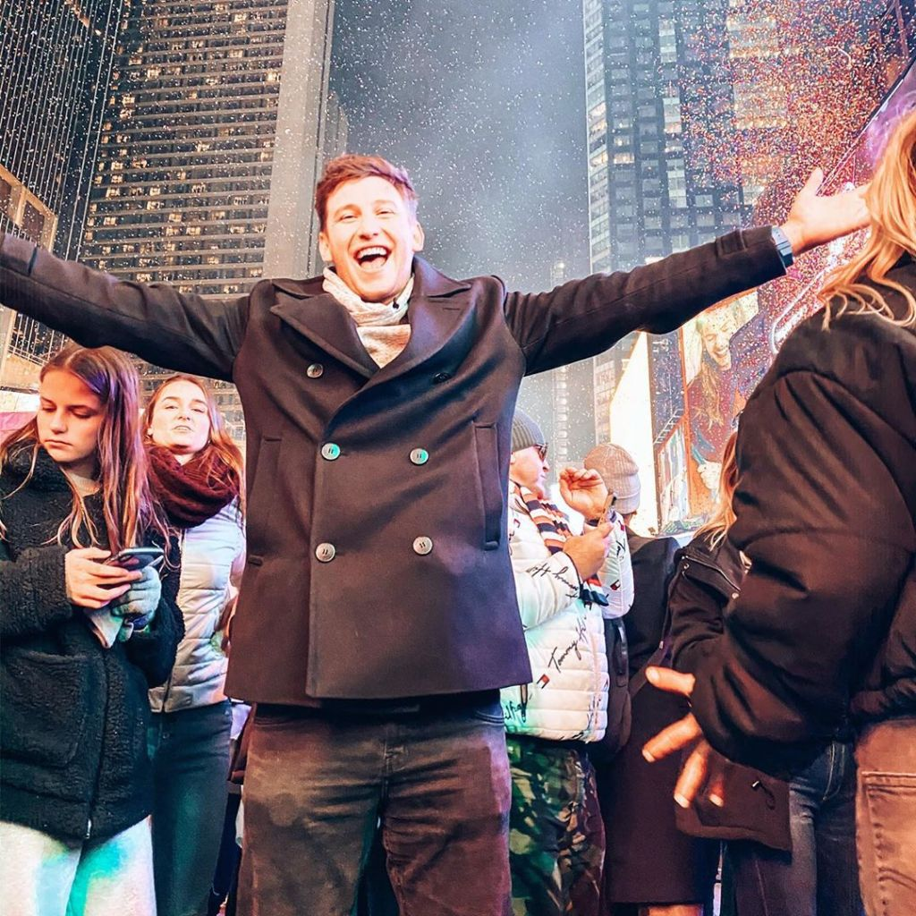 Blake Horstmann in Times Square on New Year's Eve