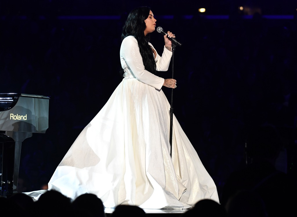 Demi Lovato Wearing a White Dress at the 2020 Grammys