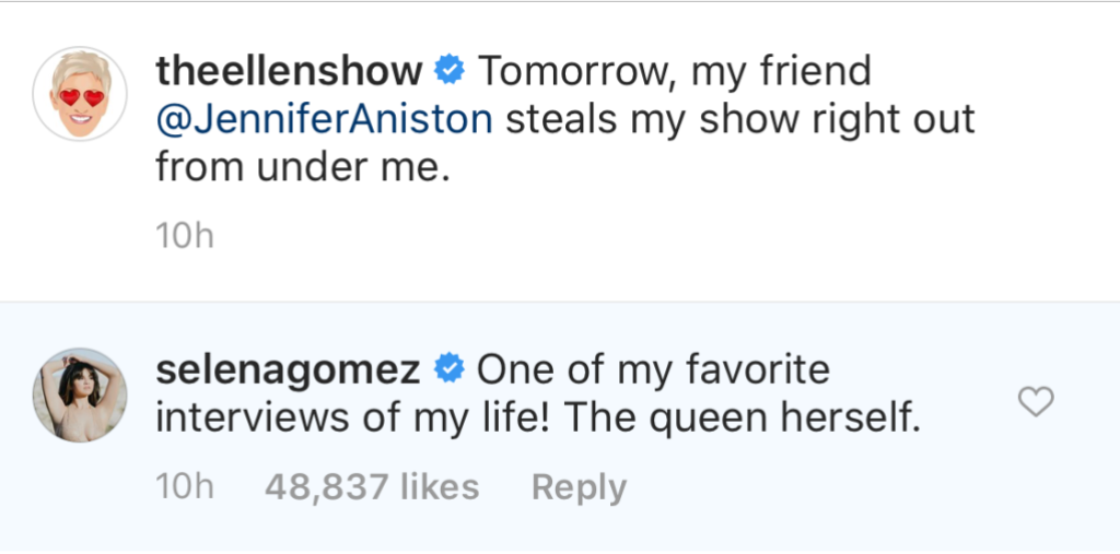 Selena Gomez Fangirls Over Jennifer Aniston
