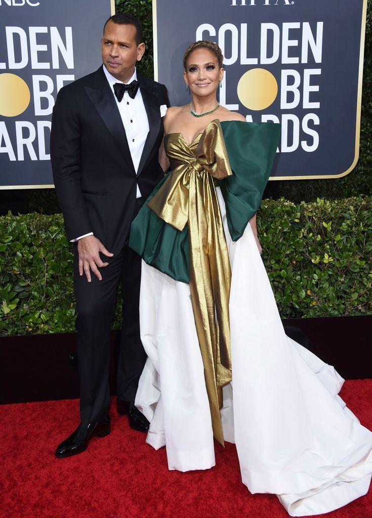 Golden Globes 2020 Red Carpet Style Jennifer Lopez and Alex Rodriguez