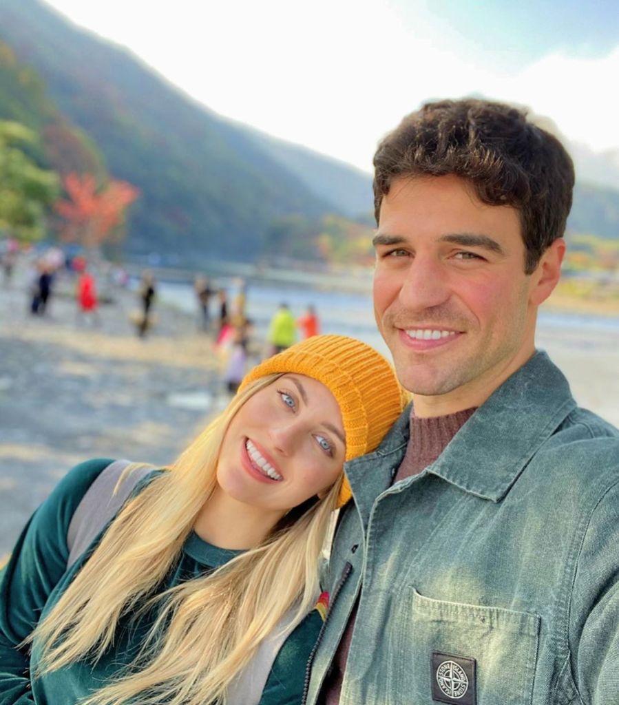 Kendall Long Wearing a Yellow Hat With Joe Amabile