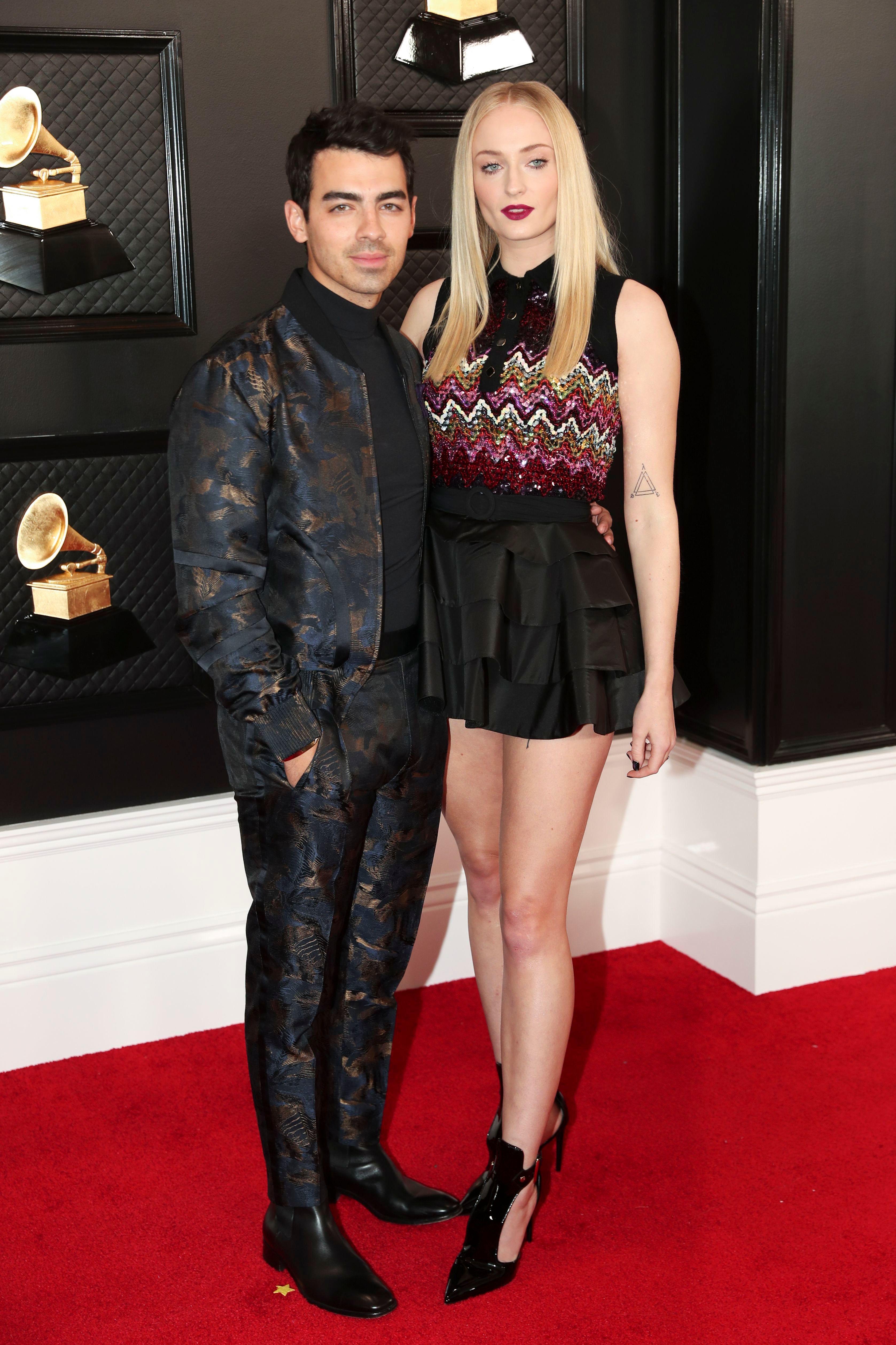 Killin' It! Joe Jonas and Sophie Turner Own the Grammys Red Carpet in Matching Dark Looks