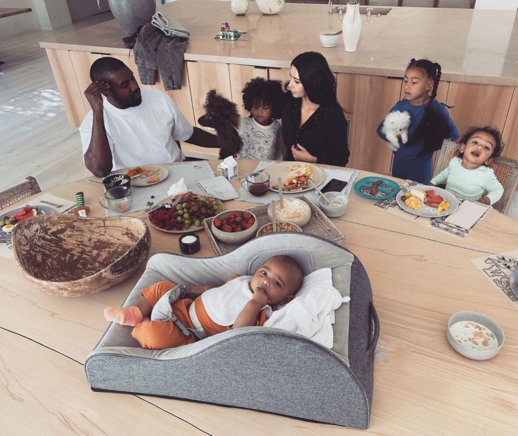 Kim Kardashian and Kanye West With Their Kids