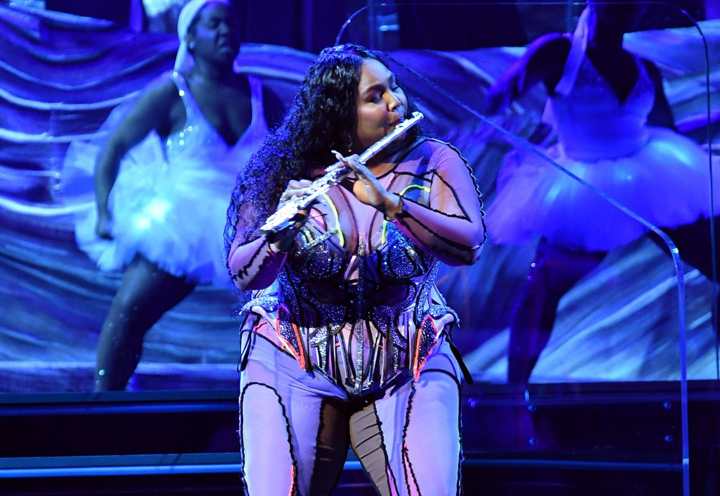 Lizzo Performing at the Grammys