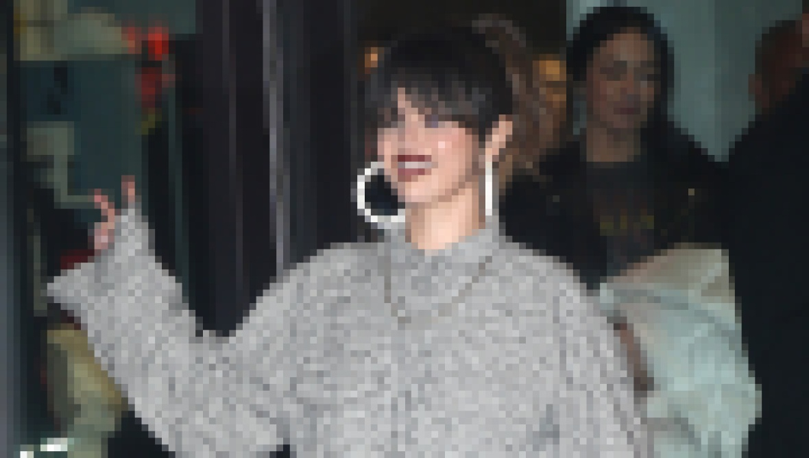 Selena Gomez Wears Grey Jumpsuit and White Hoops to Rare Album Release Party in NYC