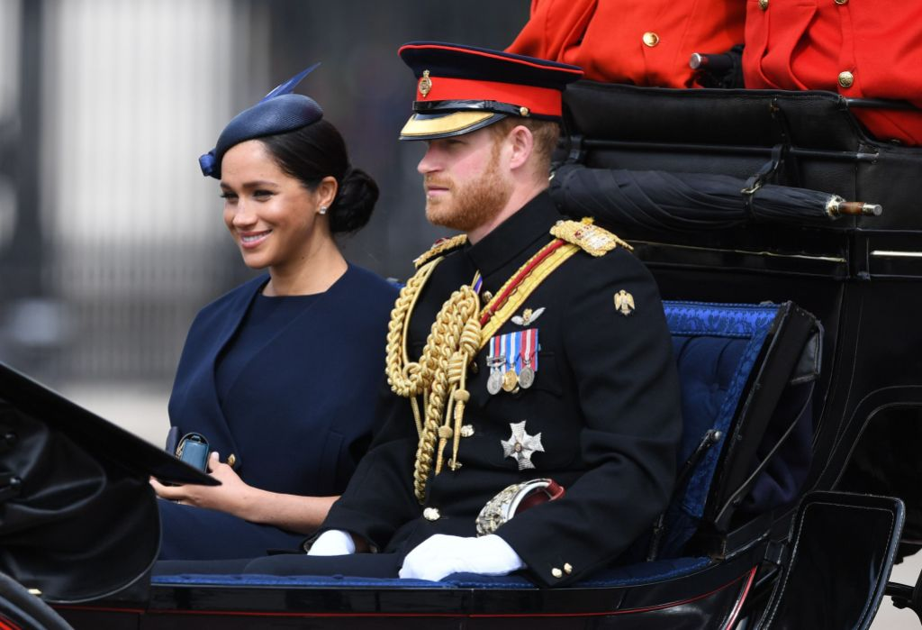 Meghan Markle Wearing Blue With Prince Harry in a Carriage