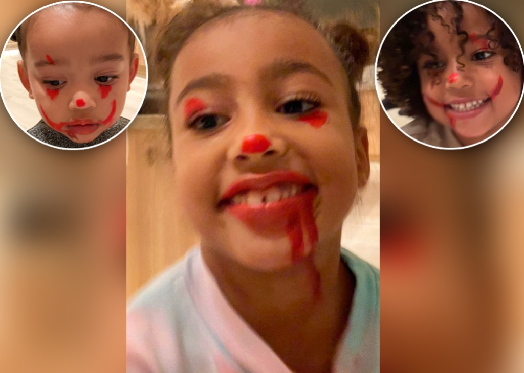 North-West-Attempted-'It'-Inspired-Clown-Makeup-on-Her-Siblings
