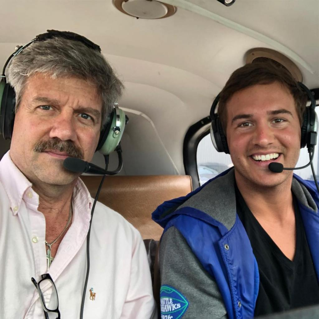 Peter Weber With His Dad on the Plane