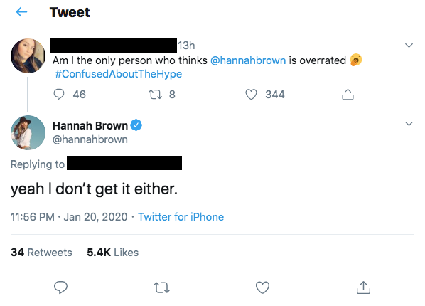 Hannah Brown Claps Back at Fan Who Calls Her Overrated