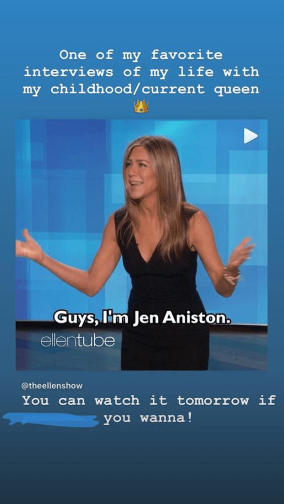 Selena Gomez Promotes Jennifer Aniston Interview on Ellen