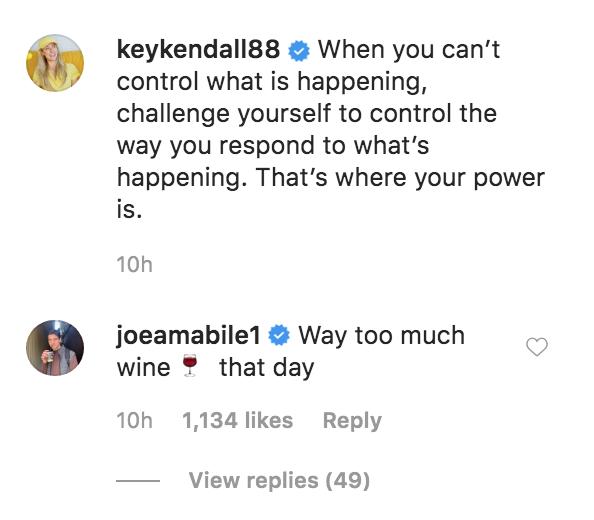 Joe Amabile Comments on Kendall Long Instagram