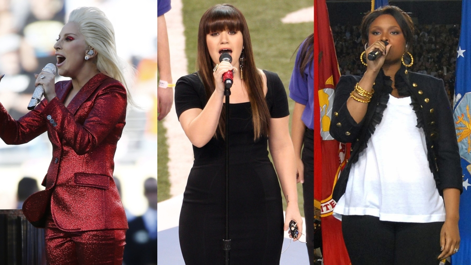 Lady Gaga, Kelly Clarkson, Jennifer Hudson National Anthem Performances at the Super Bowl
