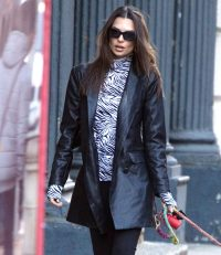 Emily Ratajkowski and Her Dog Go For a Walk in NYC