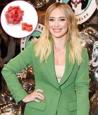 Hilary Duff Snacks On Watermelon cubes with Tajin seasoning and lime juice
