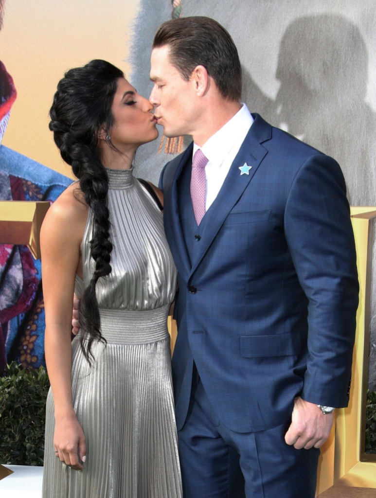 john cena and his girlfriend shay shariatzadeh packed on the pda at the dolittle red carpet premiere